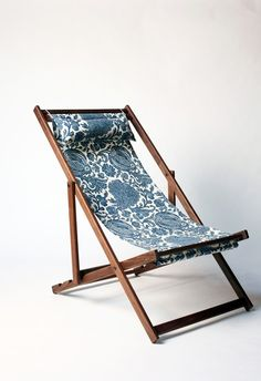 for around the pool navy floral deck chair