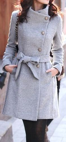 Grey Belted Coat //