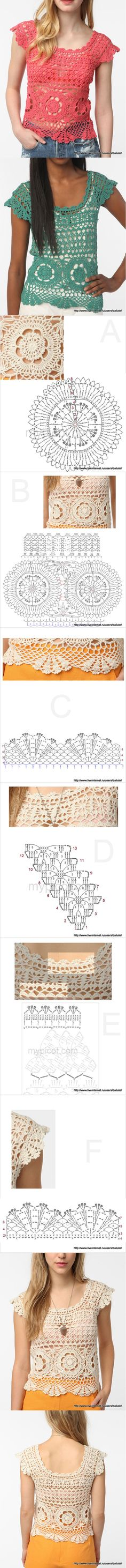 Nice crochet top with all the charts!