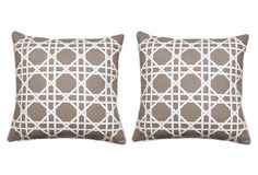 S/2 Cane 20x20 Pillows | these look great paired with the ikat.