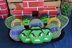 Awesome cookies from a Hulk Birthday Party!  See more party ideas at CatchMyParty.com!