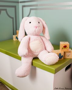pink bunny and aqua walls