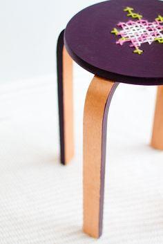 DIY cross stitch stool