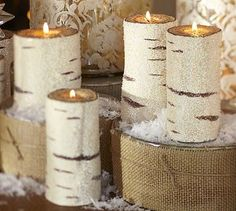 "Beaded Birch Pillar Candles (HORSE WHISPERS SNOW GLOBE -- ""Nature is our widest home."" quote by Thoreau (not currently available)"