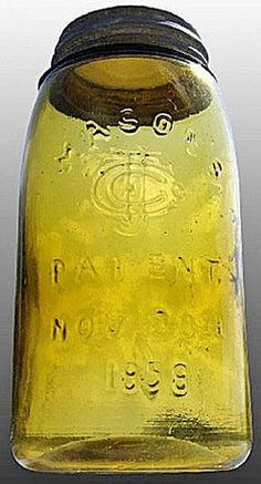 Mason's, CFJ, Patent Nov 30th 1858, Honey Amber, Quart.A quart honey amber Mason's CFJ Patent Nov 30th 1858 glass fruit or canning jar