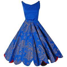 1950's Noel of Hawaii Metallic-Gold Cobalt-Blue Scalloped Cotton Sun Dress