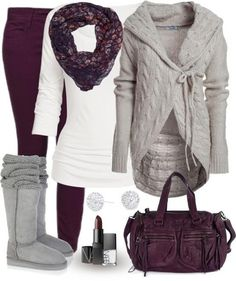 The kind of outfit I wish for, grey sweater, grey boots, white shirt, scarf, plum pants and purse, small stud earrings even cosmetics.