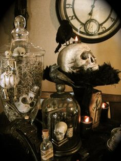 Ravens and skulls Apothecary Halloween tablescape.