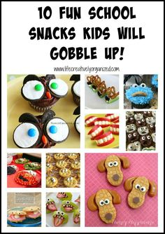 Here are 10 fun school snacks kids will gobble up. Great for classroom parties and other occasions too, like birthday parties or Halloween! #schoolsnacks #kidsnacks #funsnacks #lifecreativelyorganized #halloween