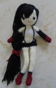 Final Fantasy Tifa Lockhart Japanese anime manga amigurumi crochet doll yarn craft DIY pattern