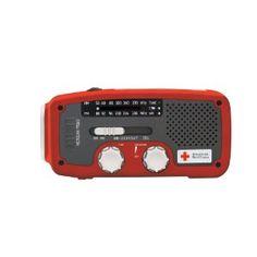 phone charger, flashlight, amfmnoaa, red cross, cell phone