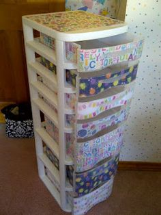 1 day + scrapbook paper + Mod Podge + nasty drawers = my new classroom supply drawers!