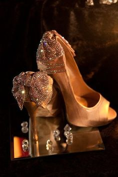 Champagne wedding shoes, Custom swarovski bridal shoes, High Heels. $225.00, via Etsy.