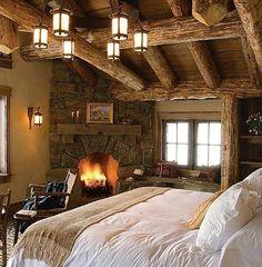 rustic bedrooms, bedroom decor, fireplac, dream, cozy bedroom