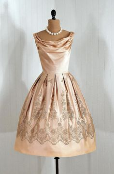 Items similar to 1950's Vintage Ethereal Metallic-Silver Embroidered Champagne-Satin Couture Draped-Cowl Plunge Rockabilly Princess Circle-Skirt Bombshell Cupcake-Ballerina Wedding Party Cocktail Formal Dress on Etsy