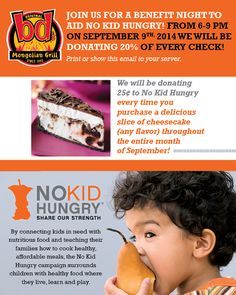 DINE OUT for NO KID HUNGRY on  Sept. 9 at bd's Mongolian Grill  -