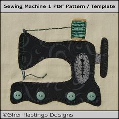 Sewing Machine 1  Applique Template  PDF by SherHastingsDesigns, $2.00