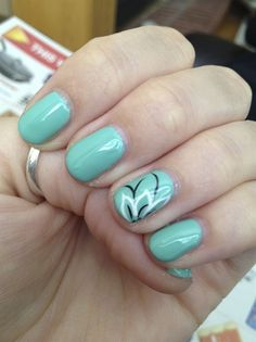 Mint-teal with flower by Chicoiner - Nail Art Gallery nailartgallery.nailsmag.com by Nails Magazine www.nailsmag.com #nailart