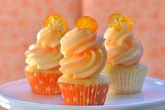 Tangerine Mini Cupcakes with Vanilla Buttercream and Candied Kumquats