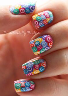 Fundamentally Flawless: Murano glass concentric rainbow circles nail art