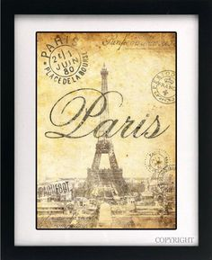 Paris French Illustrated Print - Shabby Chic Antique Effect Original Printed Art, Quote for the home.