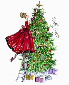 §hayden williams Christmas illustration - Imgend art lessons, couture, british fashion, william fashion, william illustr, happy holidays, christmas trees, hayden william, fashion illustrations