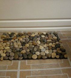 pebble mat, 1 rubber welcome mat, strong glue and rocks, glue rocks to mat, easy peasy