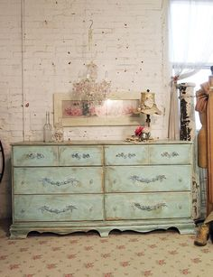 Painted Cottage Chic Shabby Aqua Dresser by paintedcottages, 525.00