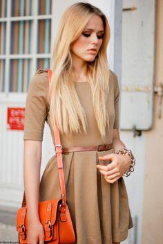 dress + orange purse.