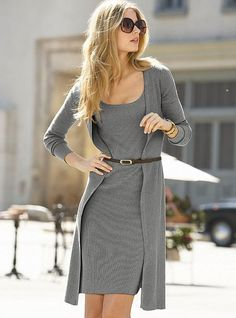 Gray cardigan & dress--- Chunky silver jewelry would complement this outfit...