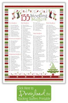 Stocking Stuffer Ideas Free Printable List
