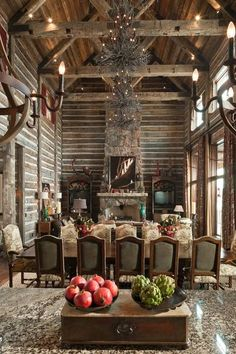 Amazing soaring great room and dining combination in this gorgeous log home