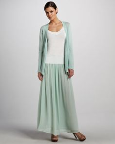 Great look for work-- mint green & white-- ADRIENNE VITTADINI  Open Knit Cardigan, Classic V-Neck Tank & Pleated Maxi Skirt