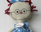 handmade cloth rag doll with Glasses Raggedy Ann
