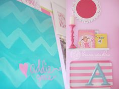 Bright wall decor / gallery wall in this big girl room