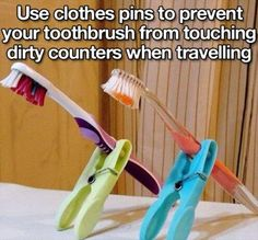 Top 20 Life Hacks Of The Week - Use clothes pins to prevent your toothbrush from touching dirty counters when traveling, etc.