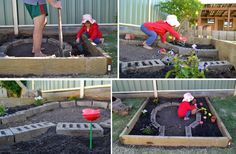 How to make a play garden - want to use tree stumps inside instead of bricks