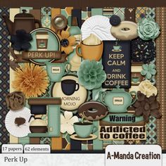 Perk Up Kit, a coffee themed digital scrapbooking kit to get your mojo flowing! Hot coffee and donuts, the perfect start to my day!  Grab a cup from the pot, get another one the way!  A touch of sugar or a spot of whipped cream, my Morning Mojo is a Perk Up dream.