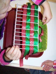 classroom idea, christma activ, kid stuffpreschool, montessori practical life, basket weaving, ribbon, practic life, montessori christmas, preschool thing