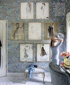 dress room, fashion sketches, art, fashion prints, closet