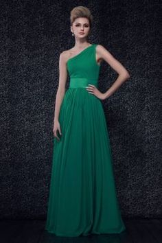 Pleats A Line One Shoulder Floor Length Dress... beautiful for prom ladies elegant and you won't look like a hooker.