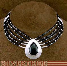 Onyx Liquid Sterling Silver Tear Drop Necklace Jewelry
