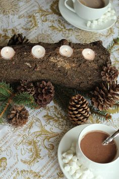 Gorgeous DIY Log Tealight Centerpiece