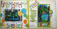 How cute is this two page layout by Mireille Divjak. #BoBunny, # Surprise, @Mireille Divjak