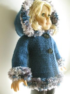 brand new PATTERN !!!! ........HOODED JACKET American Girl 18 inch doll BEGINNER level Knitting pattern with clips (52), $2.99