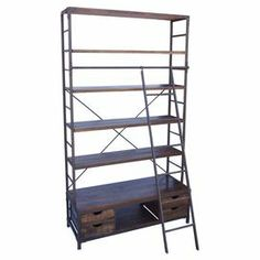 """Open metalwork bookcase with 5 fir wood shelves and bottom storage drawers. Sliding ladder included for top-shelf access.   Product: Bookcase and ladderConstruction Material: Fir wood and metalColor: NaturalFeatures:  Five shelvesIncludes a sliding ladder Dimensions: 86"""" H x 48"""" W x 18"""" D"""