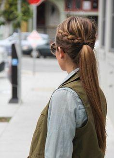 Side braid+ponytail