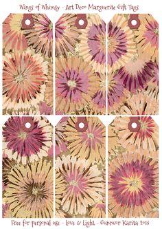 Wings of Whimsy: art déco Marguerite ETIQUETAS de regalo - Libres párr USO personal vintage # # El art deco # ETIQUETAS