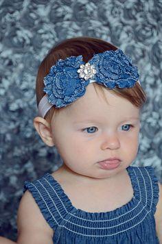 Denim Shabby Flower Headband with by MotherDaughterJewel on Etsy, $7.50