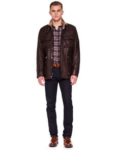 Michael Kors Fur-Lined Leather Utility Jacket,  Check Two-Pocket Shirt & Modern-Fit Stretch Jeans.